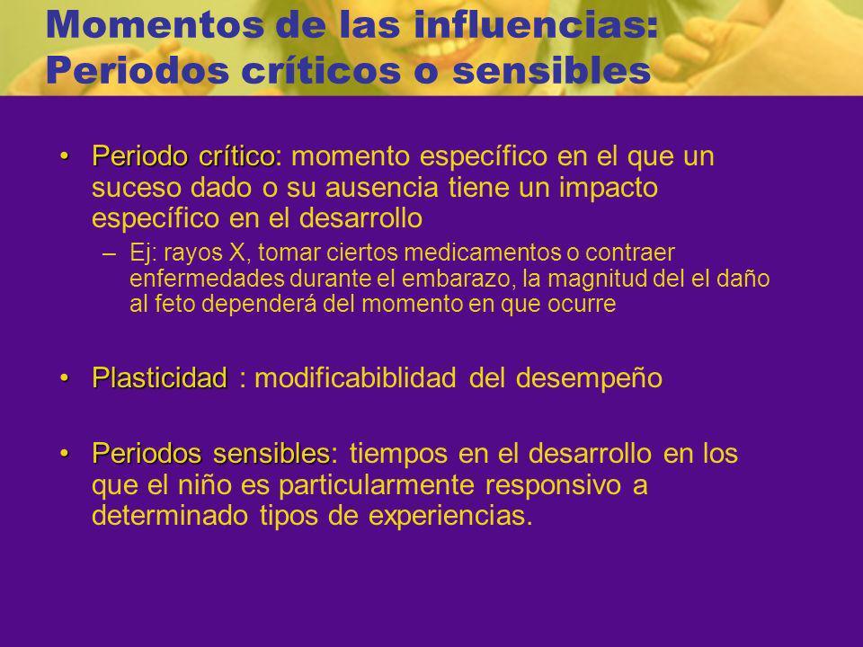 Momentos de las influencias: Periodos críticos o sensibles