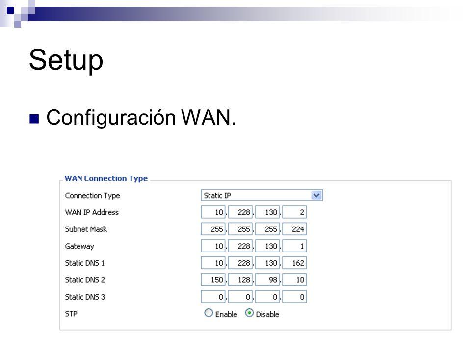 Setup Configuración WAN.