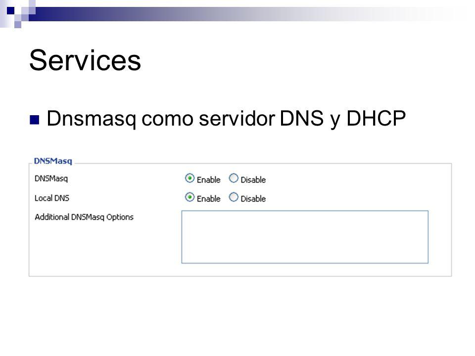 Services Dnsmasq como servidor DNS y DHCP