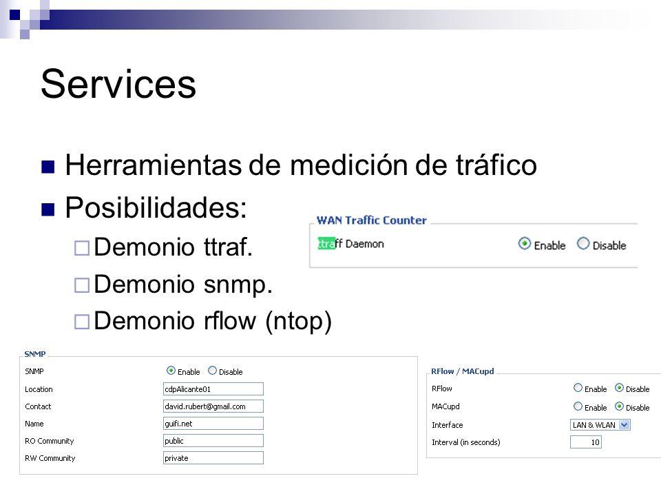 Services Herramientas de medición de tráfico Posibilidades: