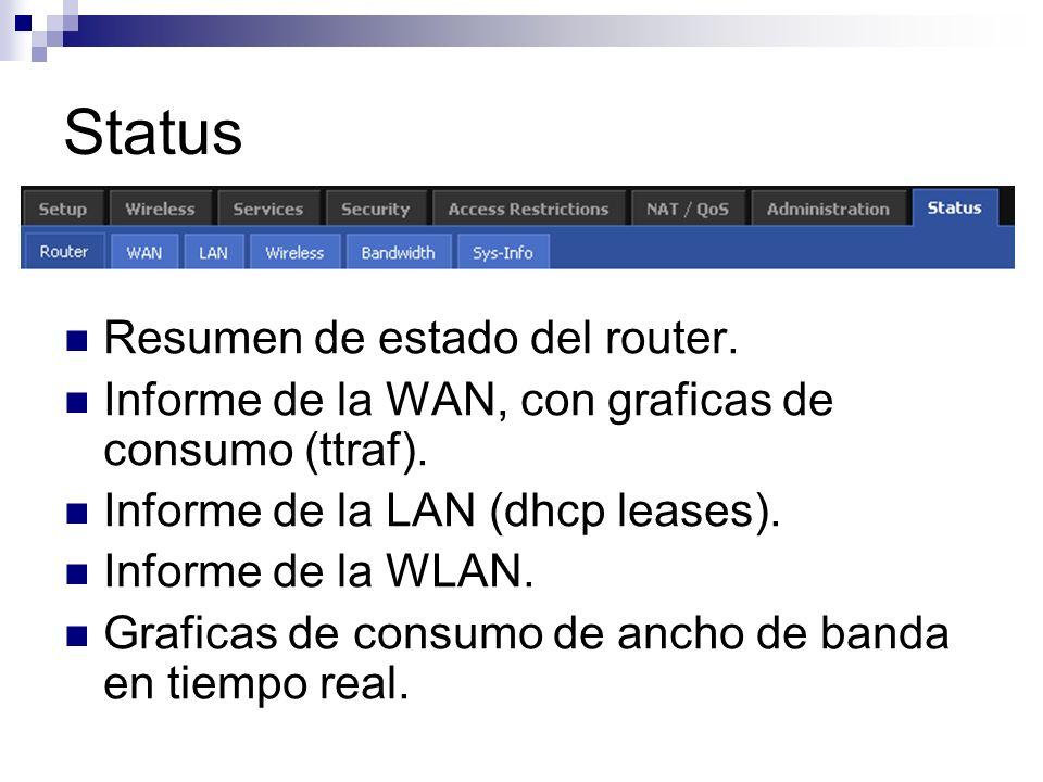 Status Resumen de estado del router.
