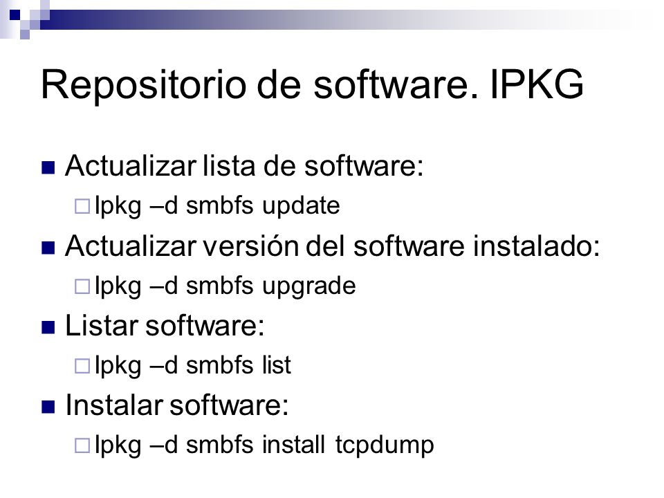 Repositorio de software. IPKG