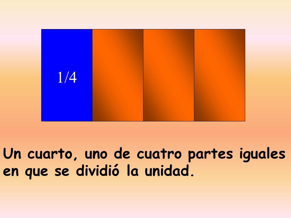 1/4 Un cuarto, uno de cuatro partes iguales