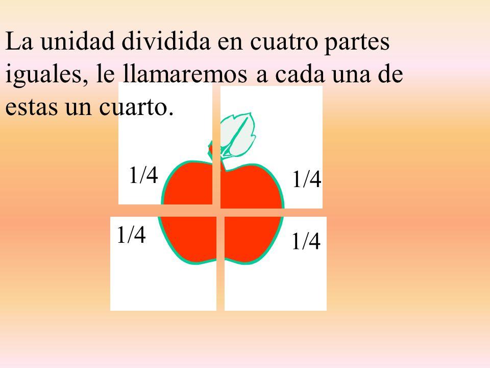 La unidad dividida en cuatro partes iguales, le llamaremos a cada una de estas un cuarto.