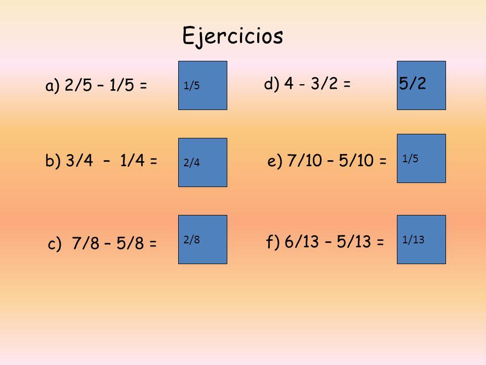Ejercicios a) 2/5 – 1/5 = d) 4 - 3/2 = 5/2 b) 3/4 – 1/4 =