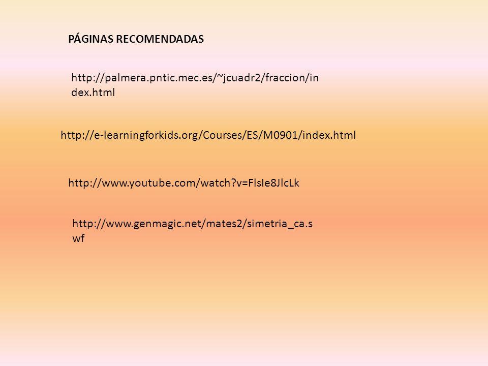 PÁGINAS RECOMENDADAS http://palmera.pntic.mec.es/~jcuadr2/fraccion/index.html. http://e-learningforkids.org/Courses/ES/M0901/index.html.