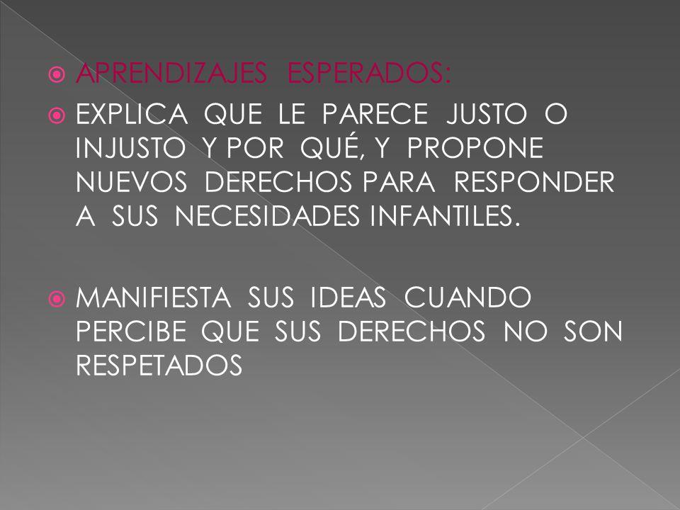 APRENDIZAJES ESPERADOS: