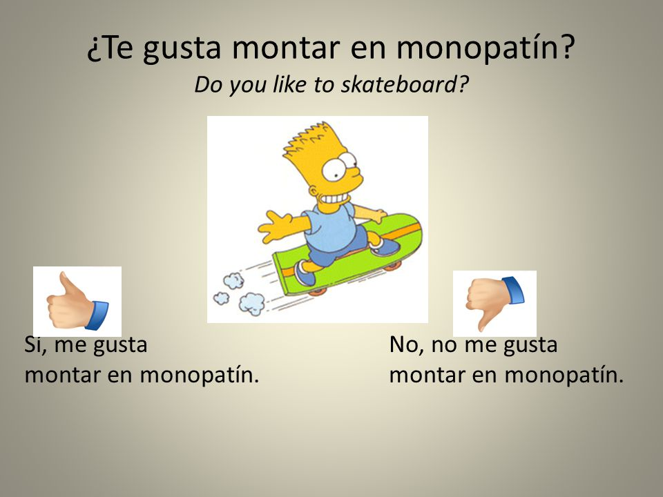¿Te gusta montar en monopatín Do you like to skateboard