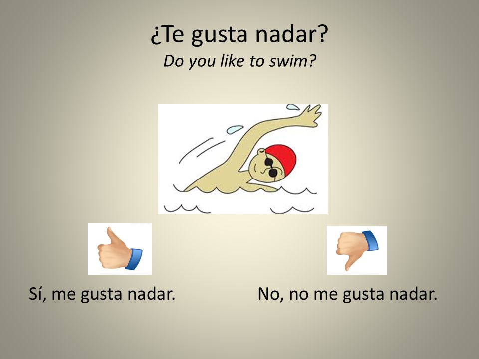 ¿Te gusta nadar Do you like to swim
