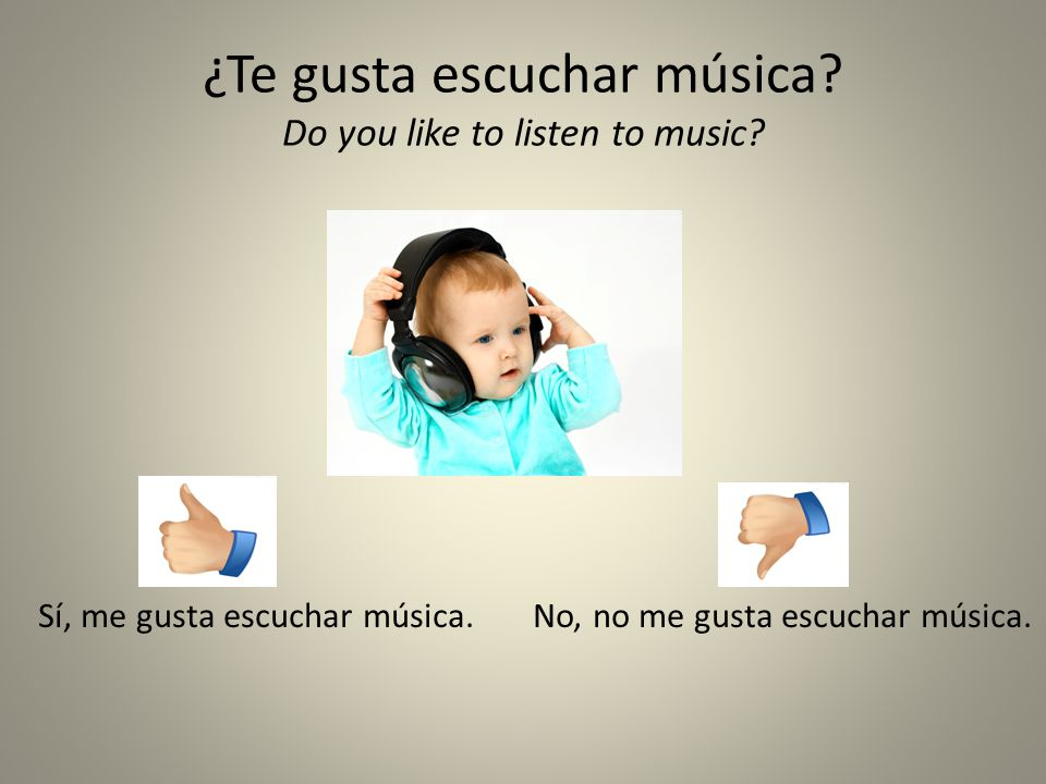 ¿Te gusta escuchar música Do you like to listen to music