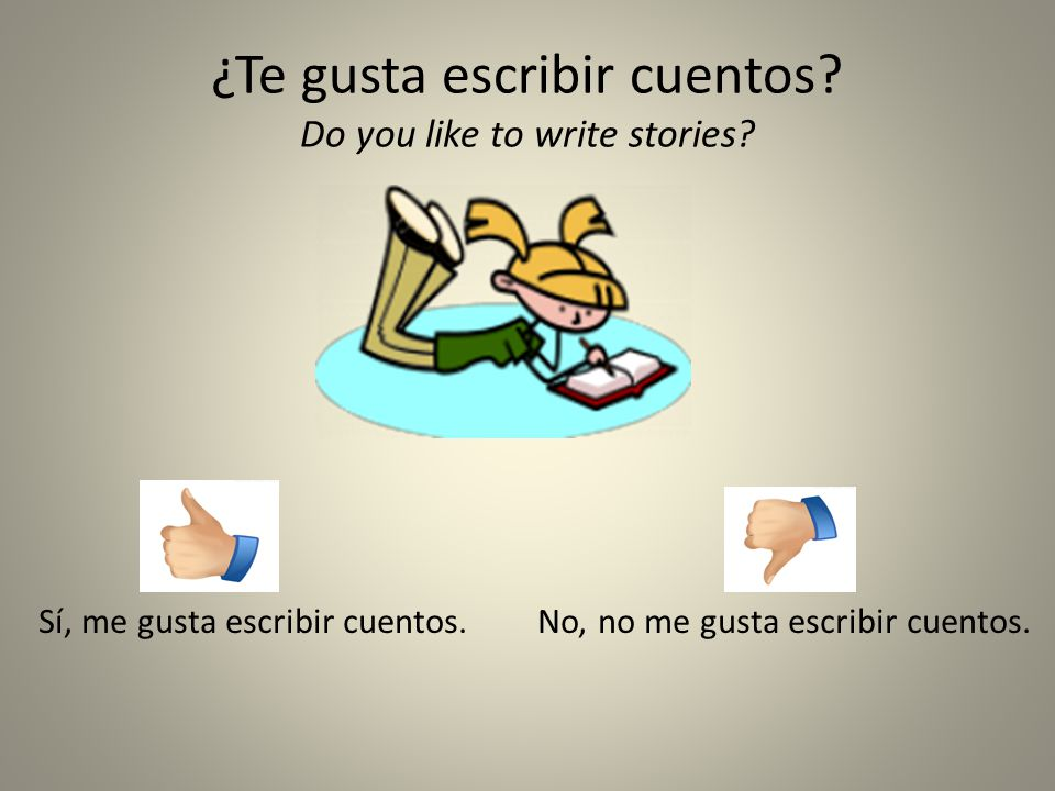 ¿Te gusta escribir cuentos Do you like to write stories