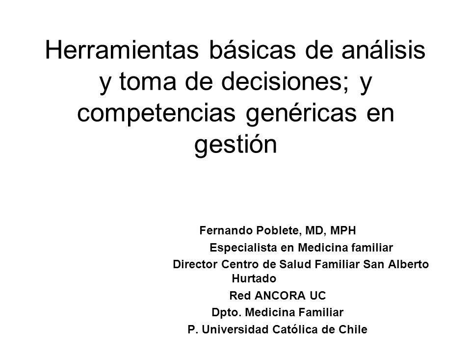 Herramientas básicas de análisis y toma de decisiones; y competencias genéricas en gestión