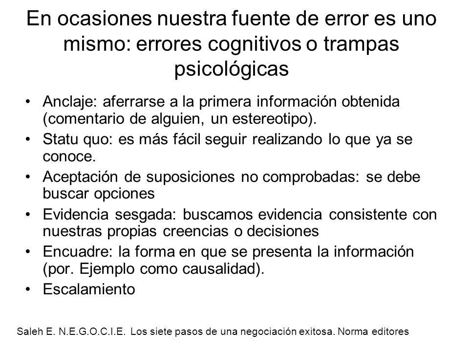 En ocasiones nuestra fuente de error es uno mismo: errores cognitivos o trampas psicológicas