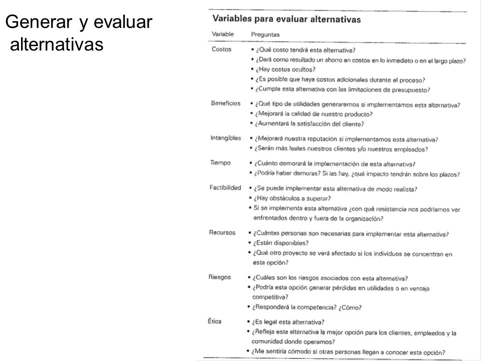 Generar y evaluar alternativas
