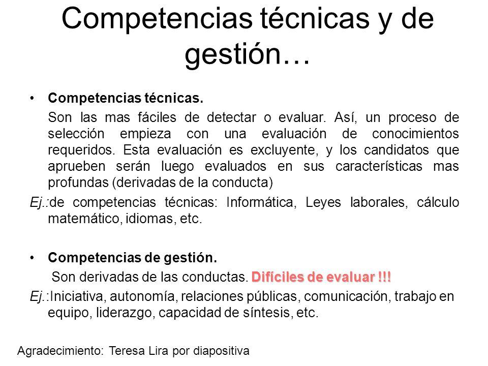Competencias técnicas y de gestión…