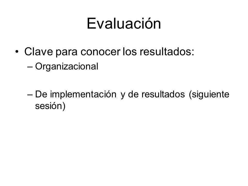 Evaluación Clave para conocer los resultados: Organizacional