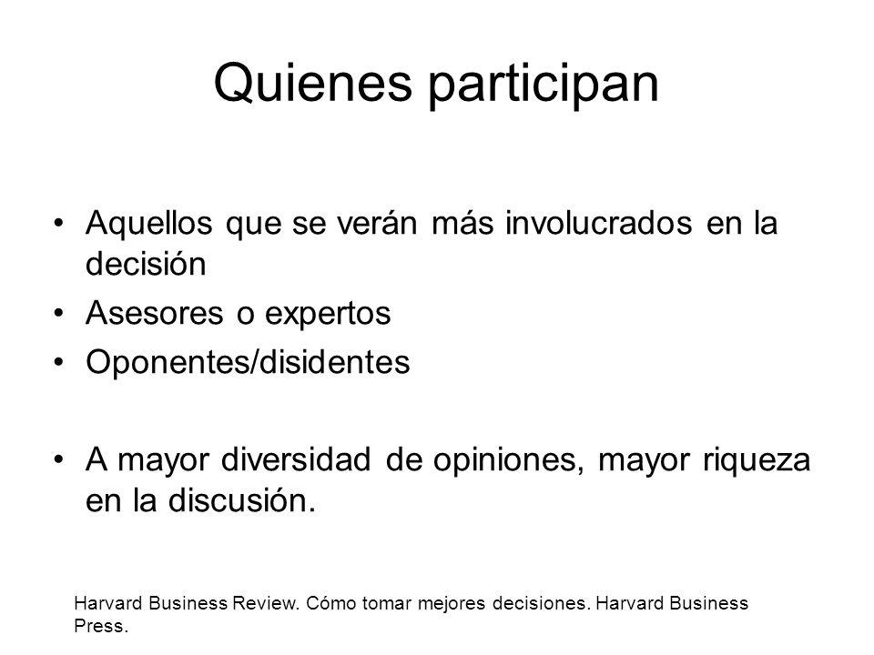 Quienes participan Aquellos que se verán más involucrados en la decisión. Asesores o expertos. Oponentes/disidentes.