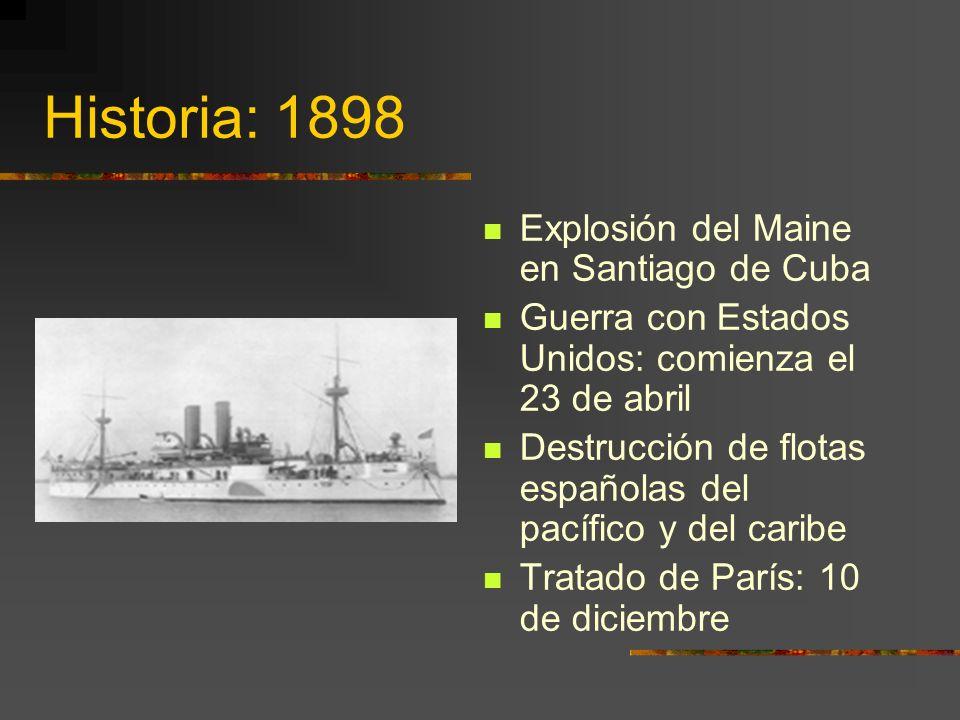 Historia: 1898 Explosión del Maine en Santiago de Cuba