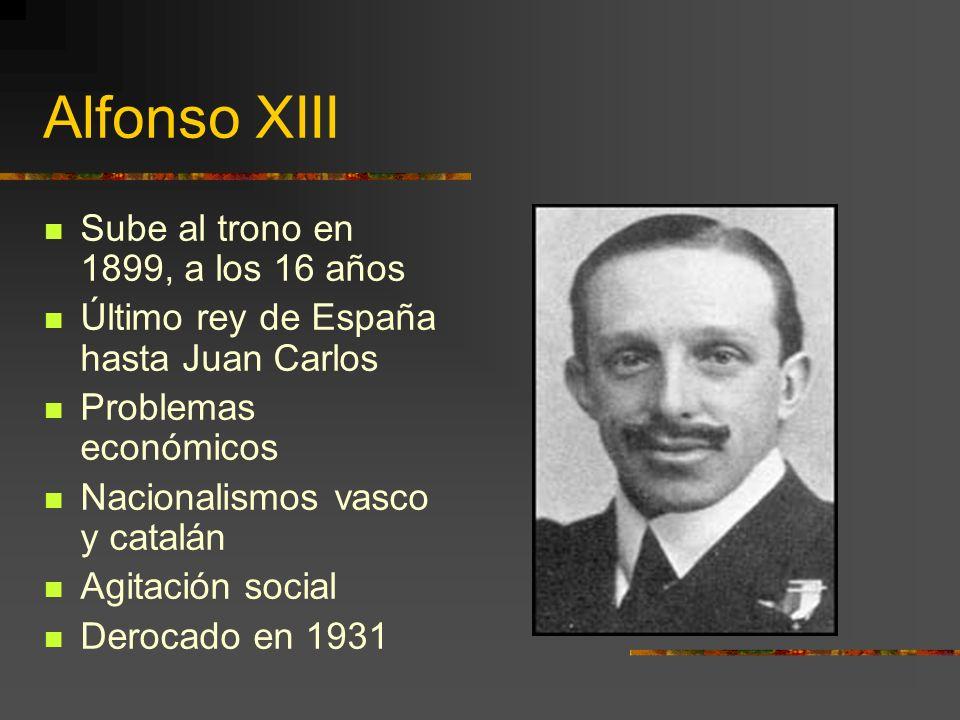 Alfonso XIII Sube al trono en 1899, a los 16 años