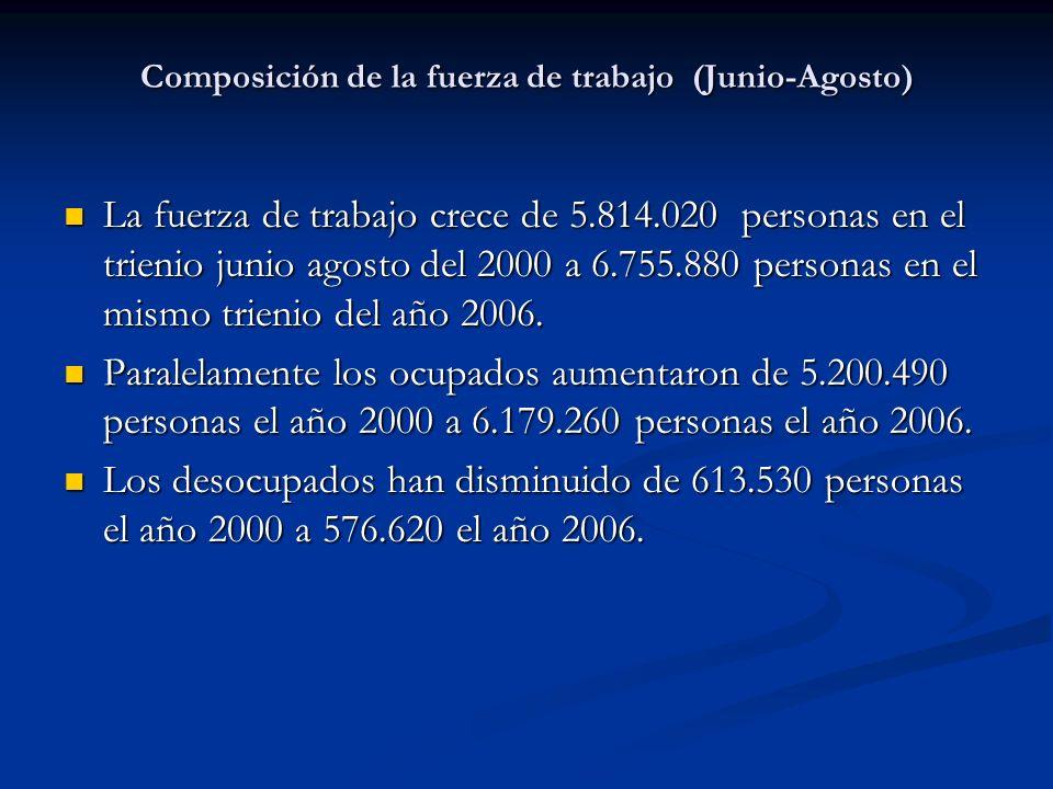 Composición de la fuerza de trabajo (Junio-Agosto)