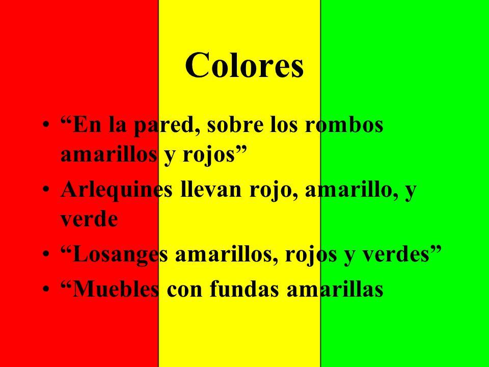 Colores En la pared, sobre los rombos amarillos y rojos