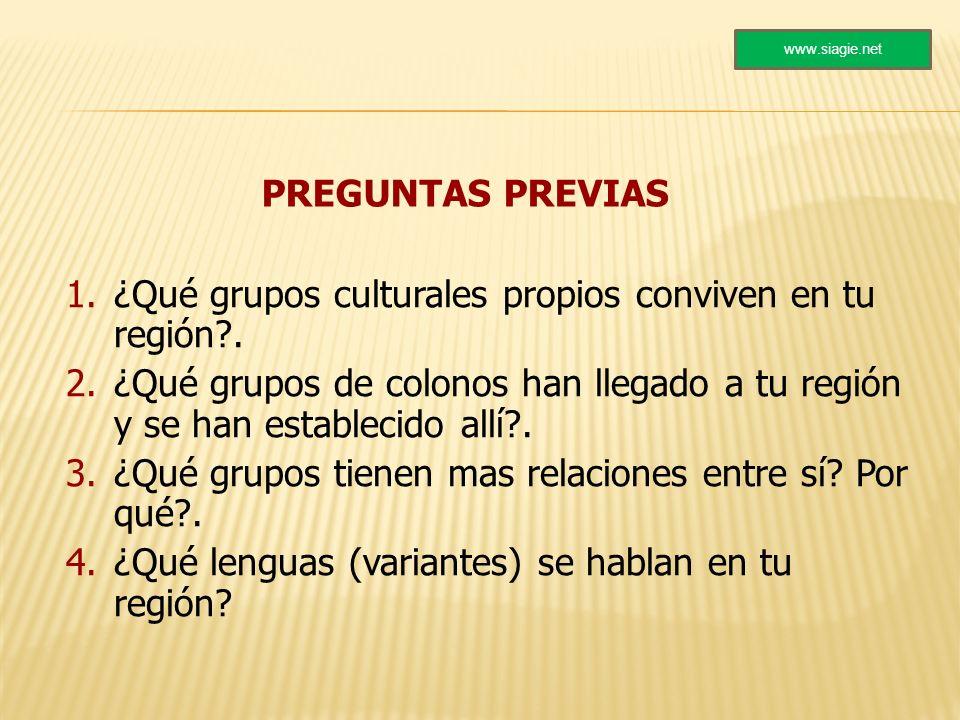 ¿Qué grupos culturales propios conviven en tu región .