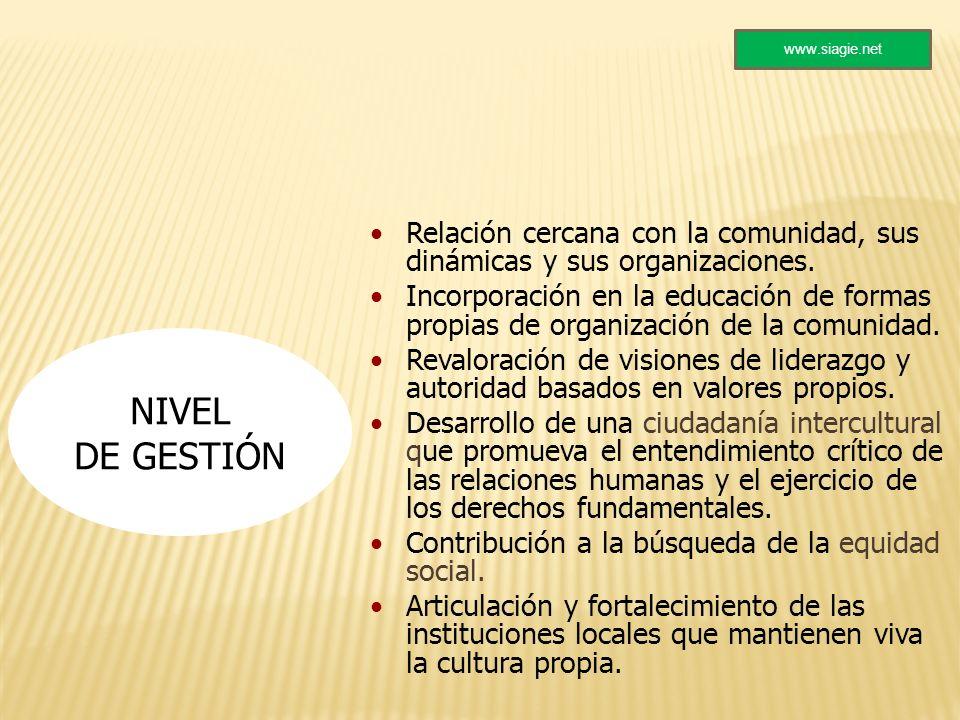 www.siagie.net Relación cercana con la comunidad, sus dinámicas y sus organizaciones.
