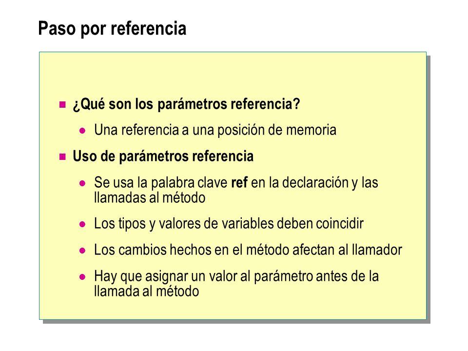 Paso por referencia ¿Qué son los parámetros referencia