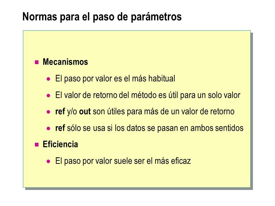 Normas para el paso de parámetros