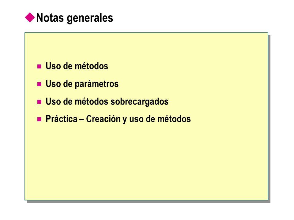 Notas generales Uso de métodos Uso de parámetros