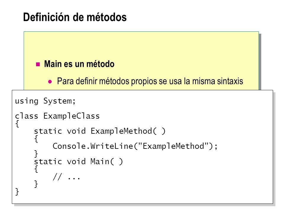 Definición de métodos Main es un método