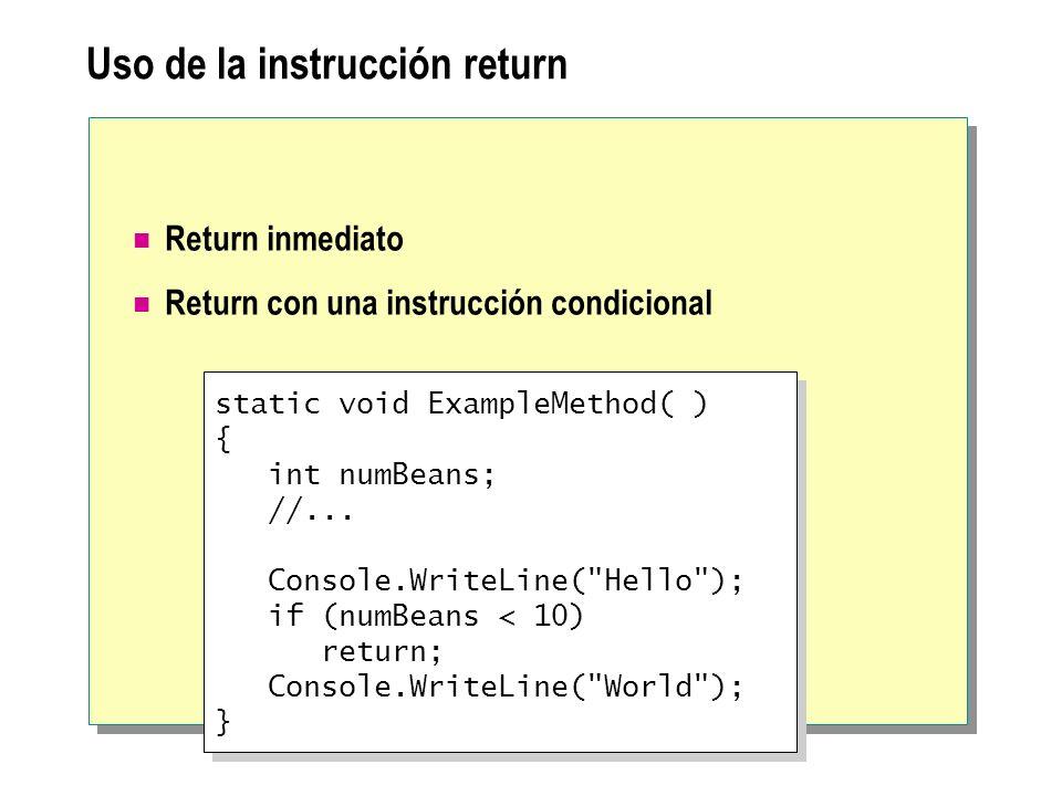 Uso de la instrucción return