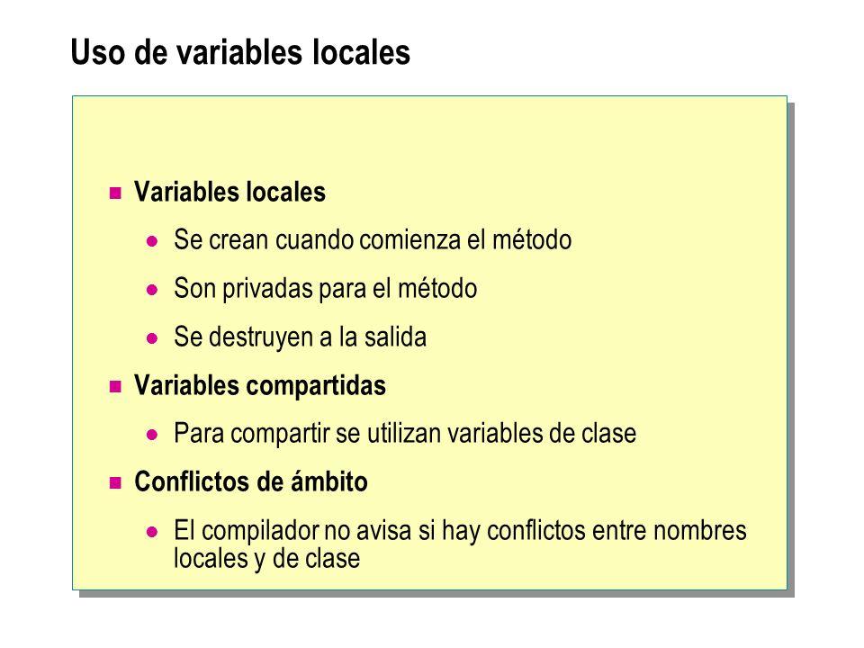 Uso de variables locales