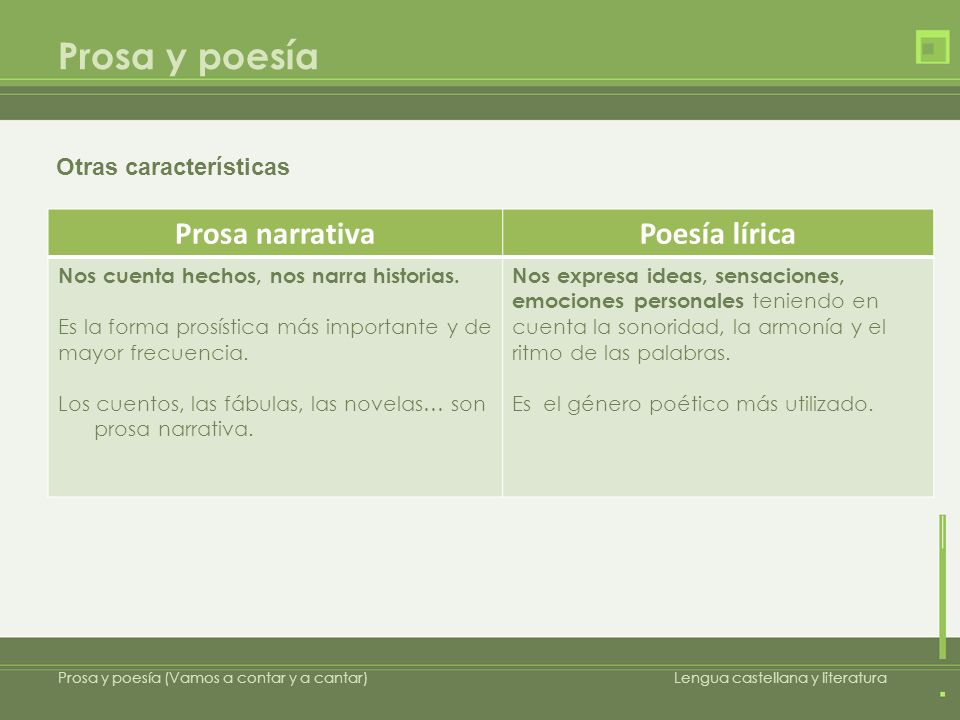 Prosa y poesía Prosa narrativa Poesía lírica Otras características