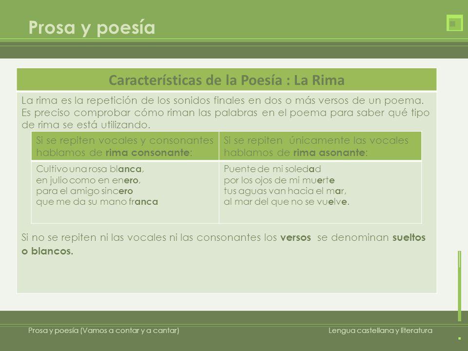 Características de la Poesía : La Rima