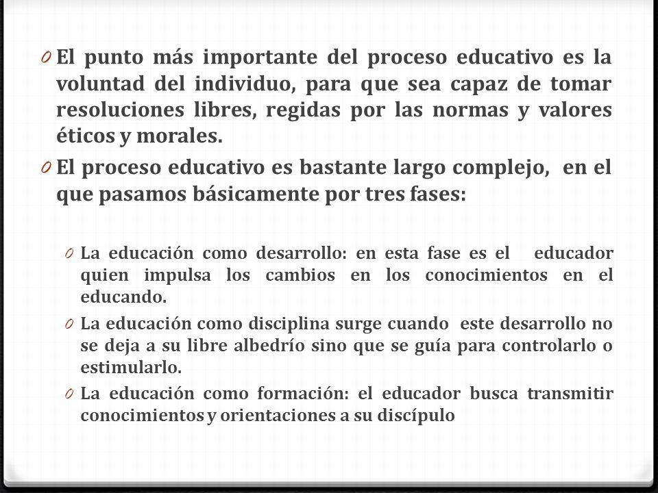 El punto más importante del proceso educativo es la voluntad del individuo, para que sea capaz de tomar resoluciones libres, regidas por las normas y valores éticos y morales.