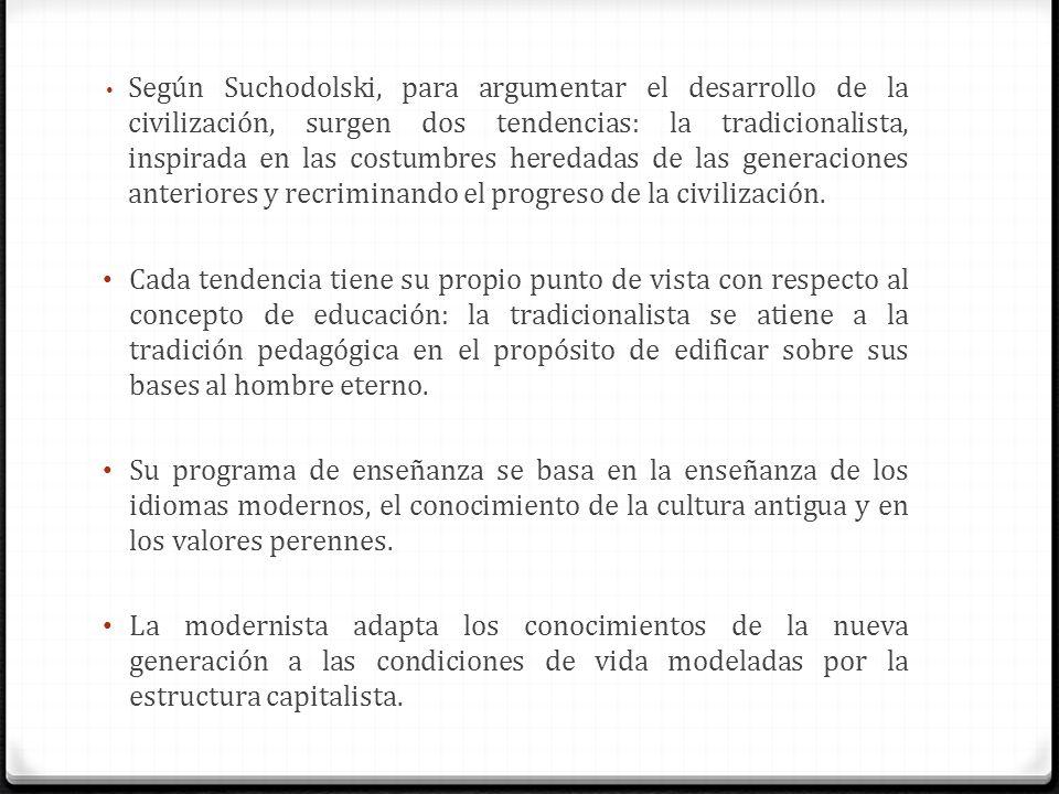 Según Suchodolski, para argumentar el desarrollo de la civilización, surgen dos tendencias: la tradicionalista, inspirada en las costumbres heredadas de las generaciones anteriores y recriminando el progreso de la civilización.