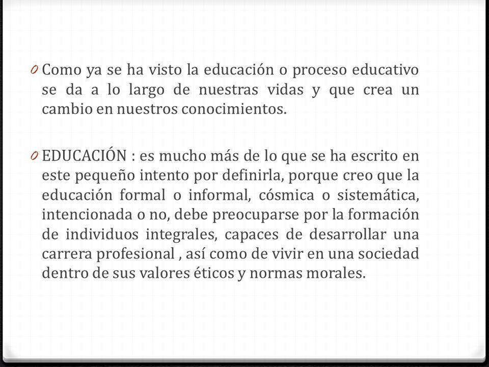 Como ya se ha visto la educación o proceso educativo se da a lo largo de nuestras vidas y que crea un cambio en nuestros conocimientos.