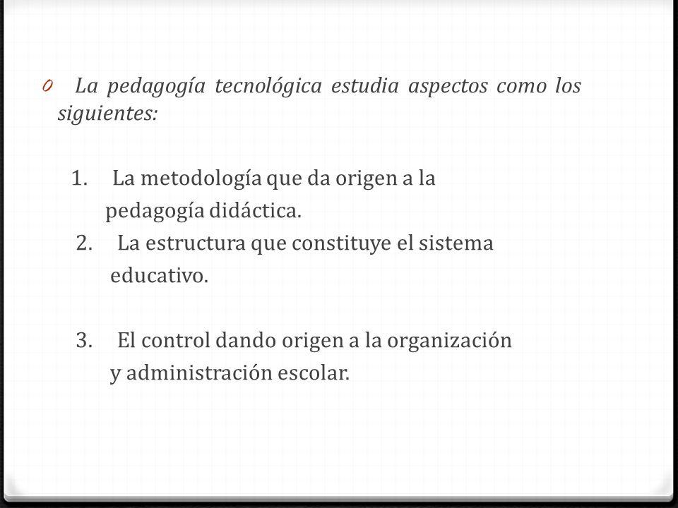 La pedagogía tecnológica estudia aspectos como los siguientes: