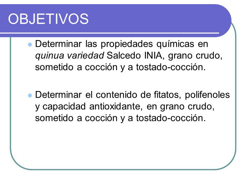 OBJETIVOS Determinar las propiedades químicas en quinua variedad Salcedo INIA, grano crudo, sometido a cocción y a tostado-cocción.