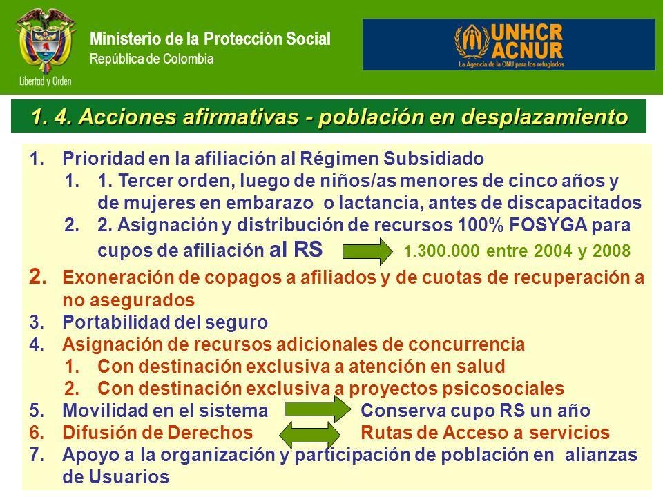 1. 4. Acciones afirmativas - población en desplazamiento