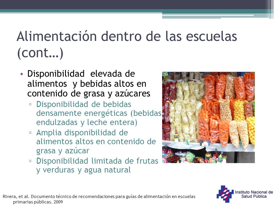 Alimentación dentro de las escuelas (cont…)