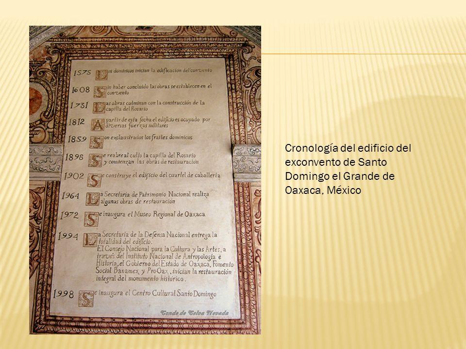 Cronología del edificio del exconvento de Santo Domingo el Grande de Oaxaca, México