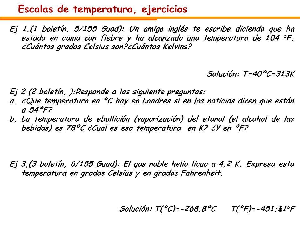 Escalas de temperatura, ejercicios