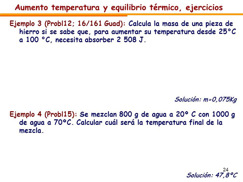 Aumento temperatura y equilibrio térmico, ejercicios