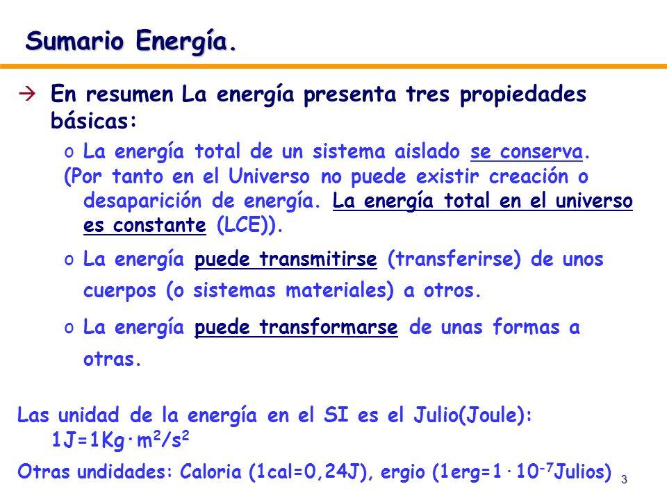 Sumario Energía. En resumen La energía presenta tres propiedades básicas: La energía total de un sistema aislado se conserva.