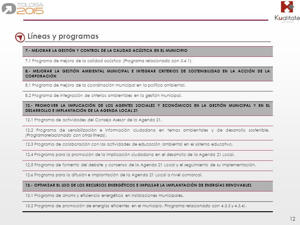 Líneas y programas 7.- MEJORAR LA GESTIÓN Y CONTROL DE LA CALIDAD ACÚSTICA EN EL MUNICIPIO.