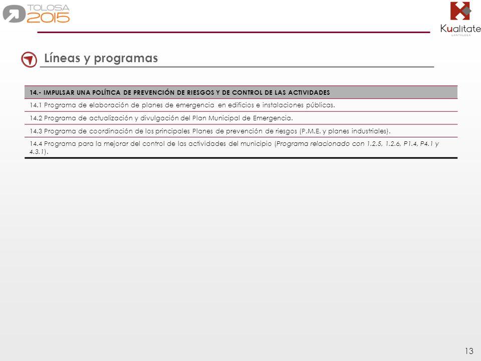 Líneas y programas 14.- IMPULSAR UNA POLÍTICA DE PREVENCIÓN DE RIESGOS Y DE CONTROL DE LAS ACTIVIDADES.