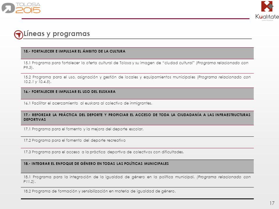 Líneas y programas 15.- FORTALECER E IMPULSAR EL ÁMBITO DE LA CULTURA