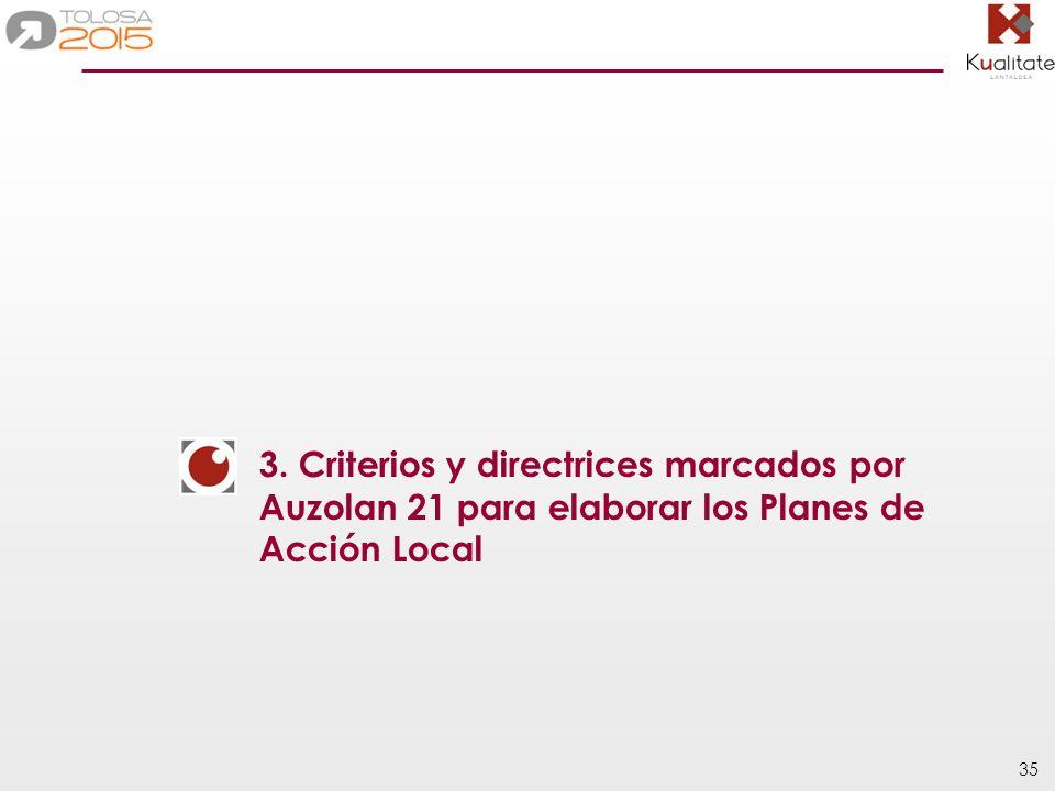 3. Criterios y directrices marcados por Auzolan 21 para elaborar los Planes de Acción Local